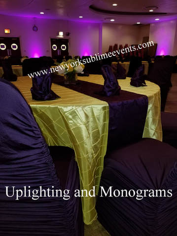 Uplighting, gobo, monogram, event decor, dancing on a cloud